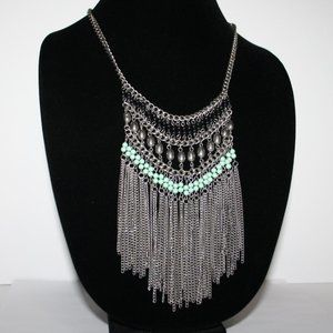 Beautiful silver and turquoise bib necklace